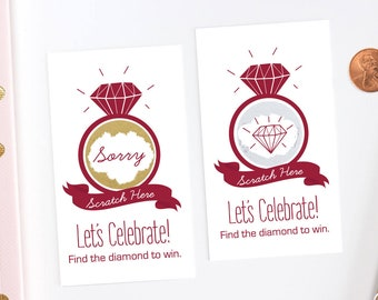 Deep Red Bridal Shower Scratch Off Cards - Bridal Shower Game - Bachelorette Party Game