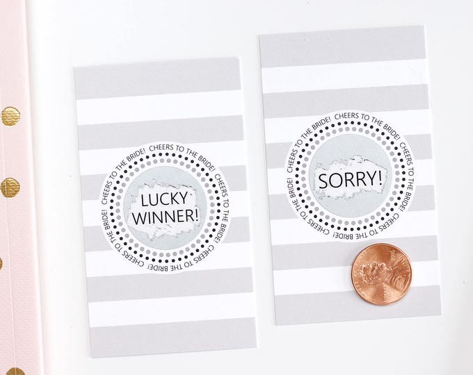 10 Grey and Pink Bridal Shower Scratch Off Cards - Bridal Shower Game - Bachelorette Party Game