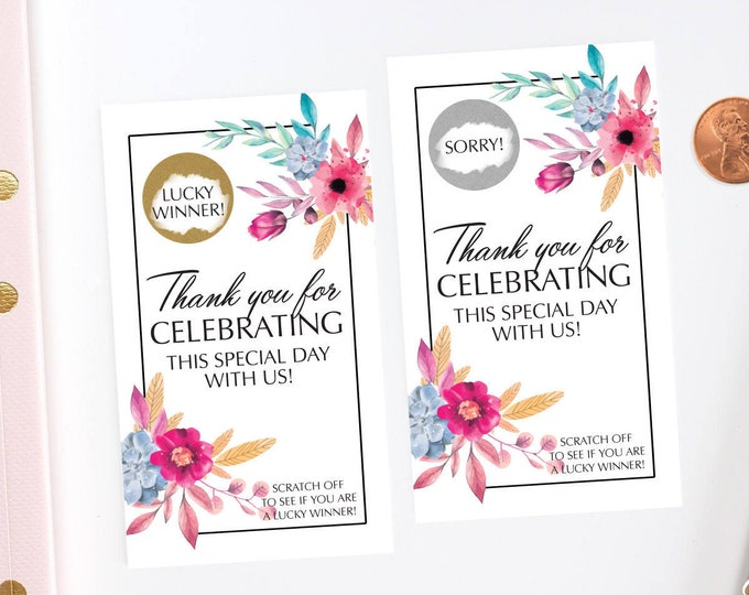 Floral Bridal Shower Scratch Off Cards - Bridal Shower Game - Bachelorette Party Game - Wedding Shower