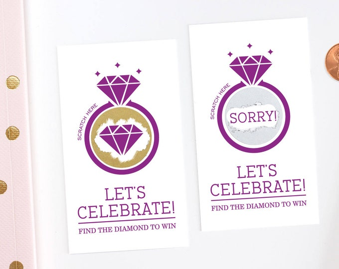 Purple and Gold Bridal Shower Scratch Off Cards - Bridal Shower Game - Bachelorette Party Game