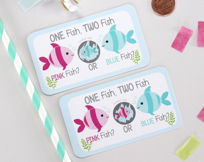 10 Baby Gender Reveal Scratch Off Cards - Pink Fish, Blue Fish
