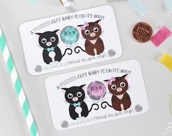 10 Baby Gender Reveal Scratch Off Cards - Kitten Cats