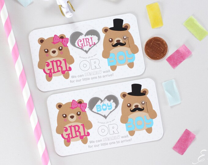 10 Baby Gender Reveal Scratch Off Cards - Pink & Blue Teddy Bear