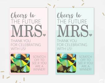 10 Pink and Blue Bridal Shower Glitter Scratch Off Cards - Bridal Shower Game - Bachelorette Party Game