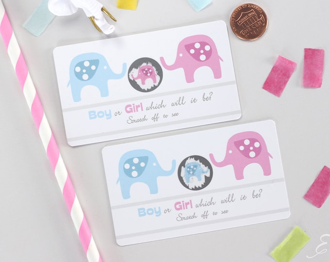 10 Baby Gender Reveal Scratch Off Cards - Pink & Blue Elephant