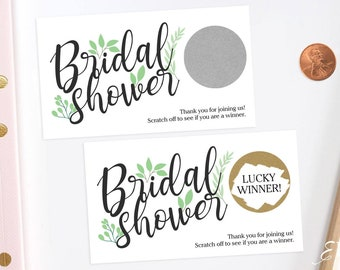 Green Floral - Bridal Shower Scratch Off Game Cards - Bridal Shower Games -  Engagement Party