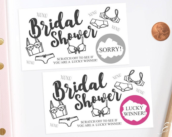 Lingerie Party - Bridal Shower Scratch Off Game Cards - Bridal Shower Game -  Bachelorette Party Game