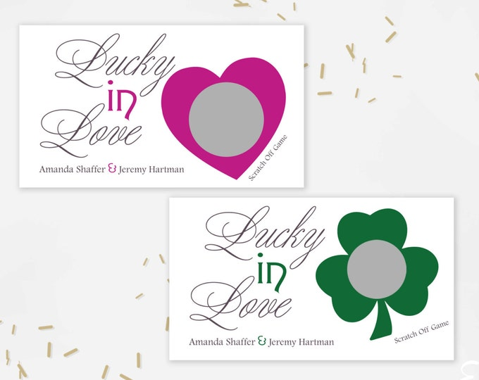 Custom Lucky In Love Green Shamrock Bridal Shower Scratch Off Cards - Bridal Shower Game - Bachelorette Party Game