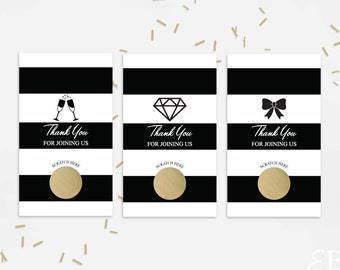 Black Stripe Bridal Shower Scratch Off Cards - Bridal Shower Game - Bachelorette Party Game