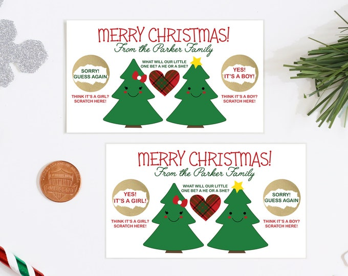 10 Custom Baby Gender Reveal Scratch Off Cards - Guess The Gender Merry Christmas Tree