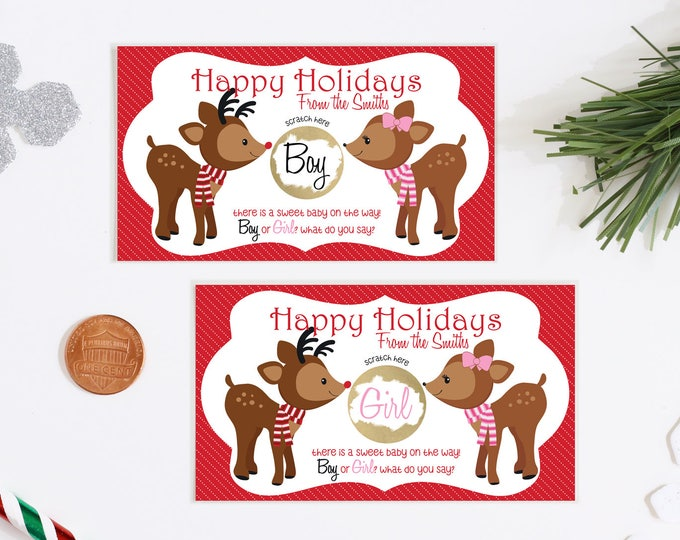 Christmas Gender Reveal Scratch Off Cards - Happy Holidays Gender Reveal Greeting Card