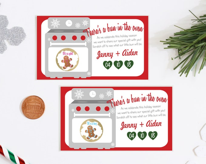 Christmas Gender Reveal Scratch Off Cards - Christmas Baby Gender Reveal Scratch Offs - Holiday Gender Reveal
