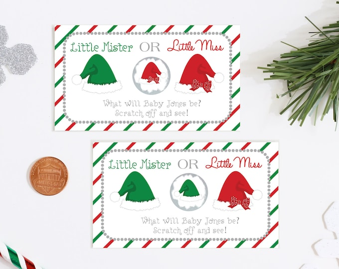 10 Custom Baby Gender Reveal Scratch Off Cards - Happy Holidays Santa Hat Little Mr or Little Miss