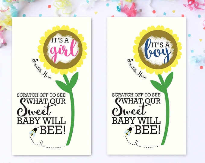 10 Baby Gender Reveal Scratch Off Cards - Sunflower Sweet Baby Bee