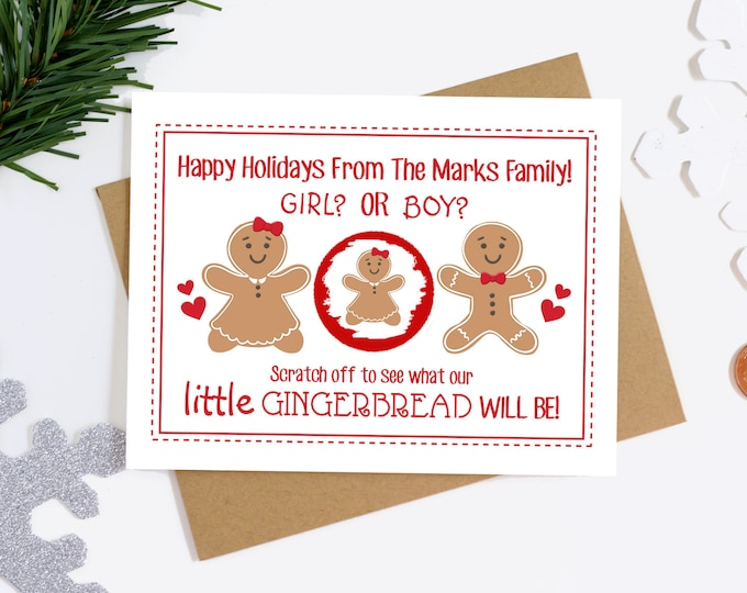 Christmas Gender Reveal Scratch Off Card - Holiday Gender Announcement Card - Scratch Off Gender Reveal