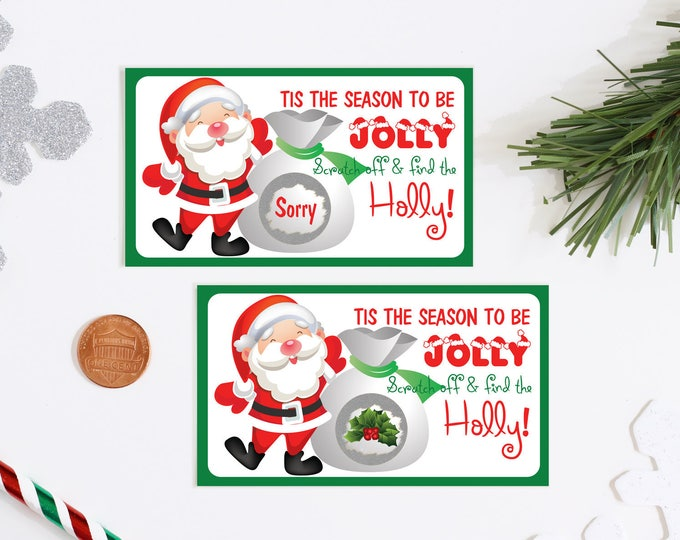 Santa Scratch Off Game Cards - Holiday Party Games - Christmas Scratch Off Game