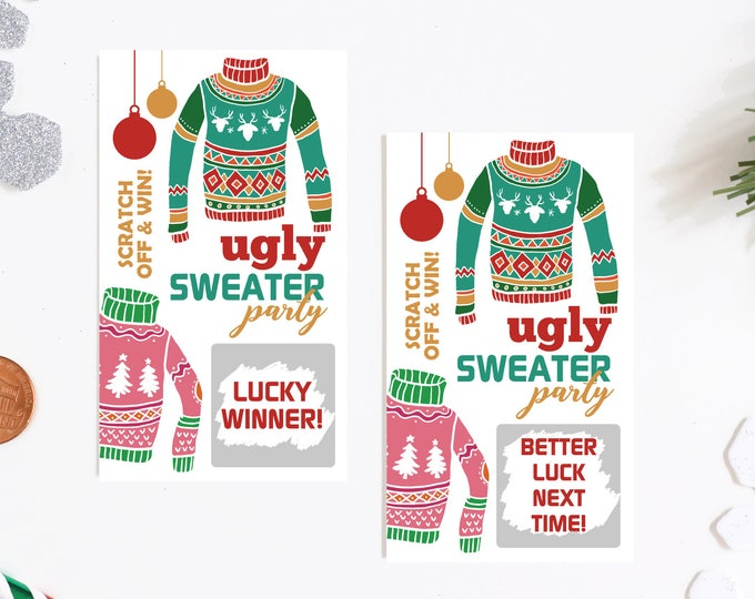 10 Ugly Sweater Christmas Party Scratch Off Party Game Cards
