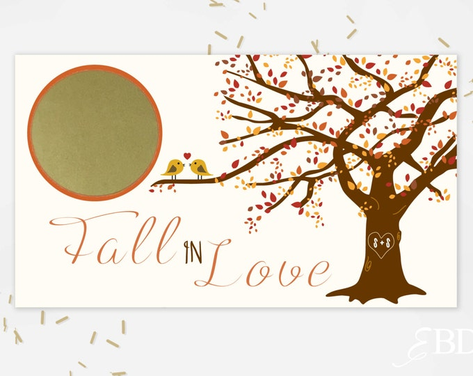 10 Custom Fall Gold Bridal Shower Scratch Off Cards - Bridal Shower Game - Bachelorette Party Game