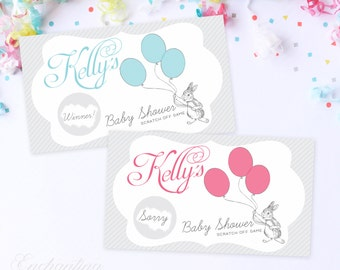 10 Custom Baby Rabbit Fairytale Balloon Baby Shower Scratch Off Game Cards - Baby Shower Game - Pink, Blue