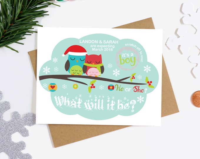 Christmas Gender Reveal Scratch Off Card - Holiday Gender Announcement Card