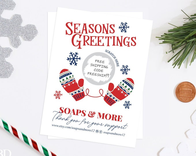 Christmas Business Promotional Scratch & Win Scratch Off Cards - Discount Card - Small Business