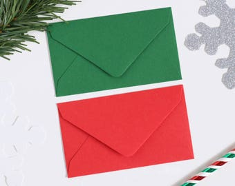 10 Matte Red & Green Mini Envelopes Perfect For Scratch Off Cards