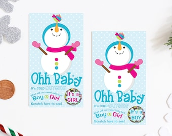 10 Baby Gender Reveal Scratch Off Cards - Happy Holidays Snowman