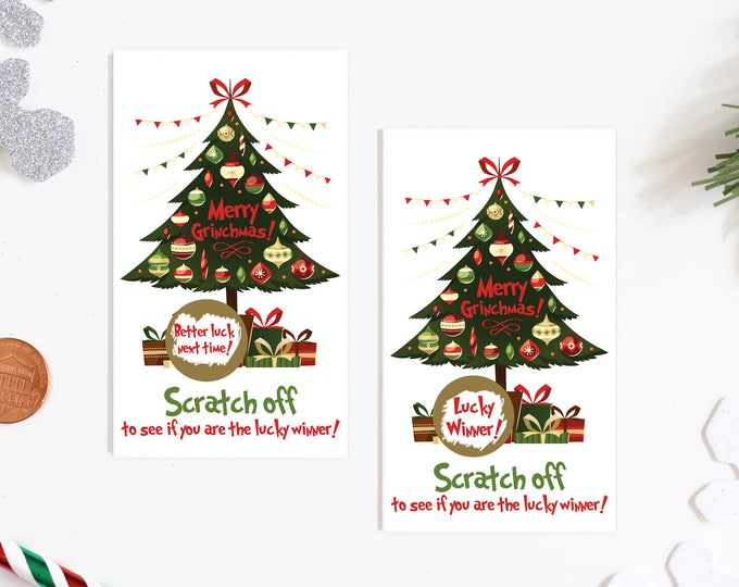 Christmas Tree Scratch Off Game Cards - Holiday Party Games - Christmas Scratch Off Game