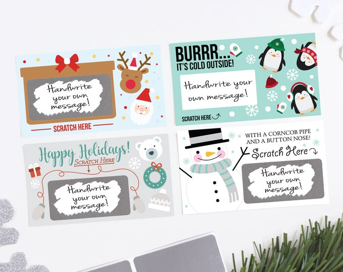 DIY Christmas Scratch Off Cards - Holiday Party Games - Classroom Games - Christmas Rewards Card