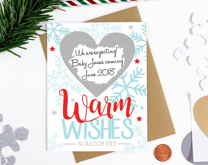 Christmas Scratch Off Pregnancy Reveal Card -  Pregnancy Announcement Card - We're Expecting