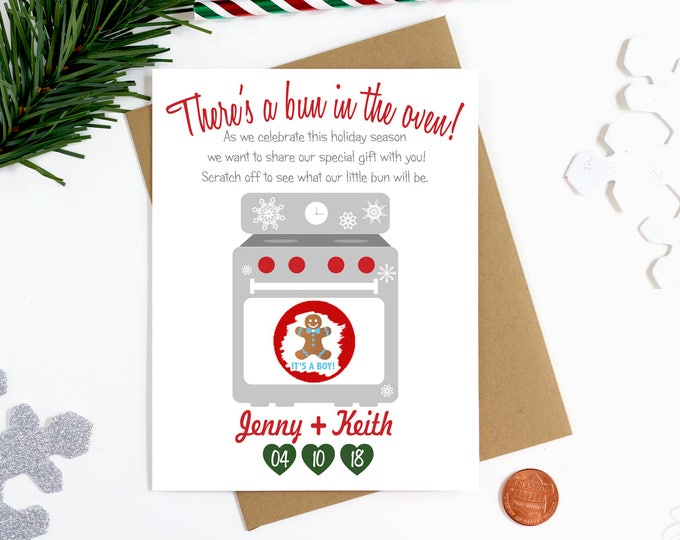 Christmas Gender Reveal Scratch Off Card - Holiday Gender Announcement Card - Bun In The Oven Card