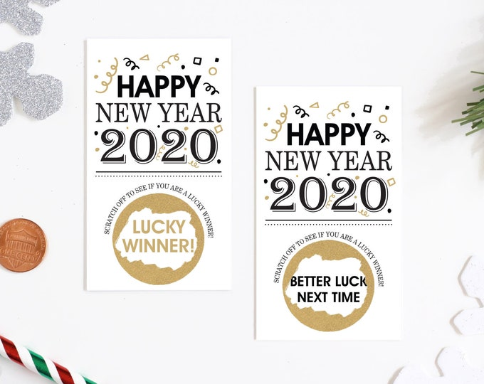 New Years Party 2020 Scratch off Game Cards - New Years Party Games - Happy New Years Card