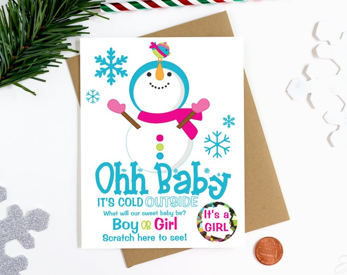Christmas Gender Reveal Scratch Off Card - Gender Announcement Card