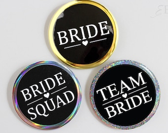 Glitter Gold Bridal Shower Pinback Button Bridesmaid - Bride Squad - Bride