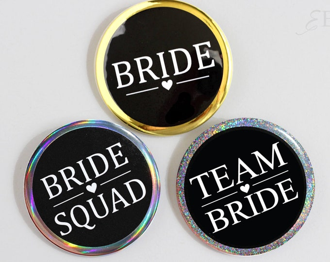 Bridal Shower Pin-back Buttons - Bridesmaid Buttons - Bride Squad Pins - Bride To Be Button - Gold Buttons