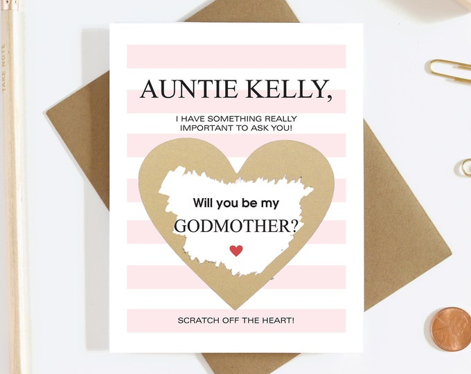Personalized Scratch Off Will You Be My Godmother Card - Godmother Proposal Card - Aunt