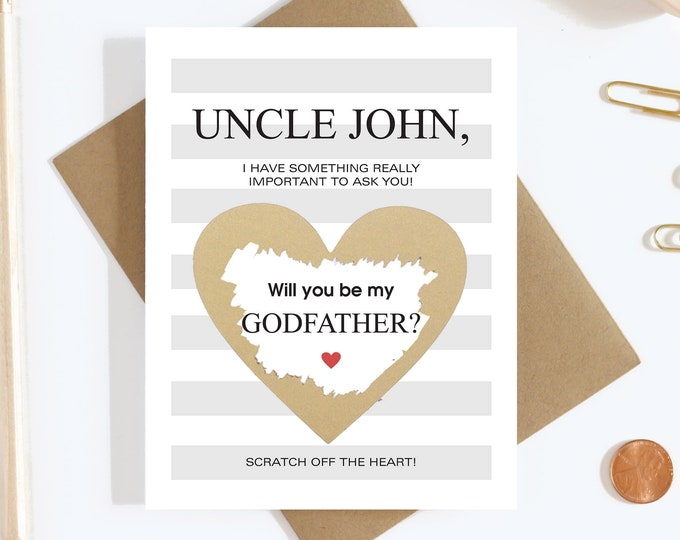 Personalized Scratch Off Will You Be My Godfather Card - Godfather Proposal Card - Godmother Godfather Card - Aunt and Uncle