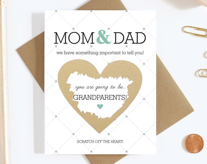 Scratch Off Card Pregnancy Reveal to Parents - Pregnancy Announcement - New Grandparents - Grandparents To Be - Grandma and Grandpa