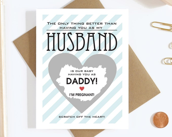 Scratch Off Card Pregnancy Reveal to Daddy - Pregnancy Announcement - Father - Daddy To Be