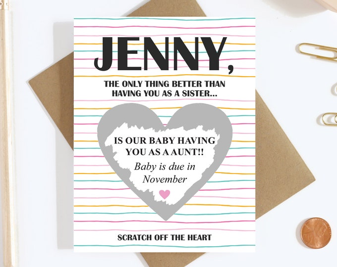 Personalized Scratch Off Card Pregnancy Reveal - Aunt To Be - Pregnancy Announcement - Auntie