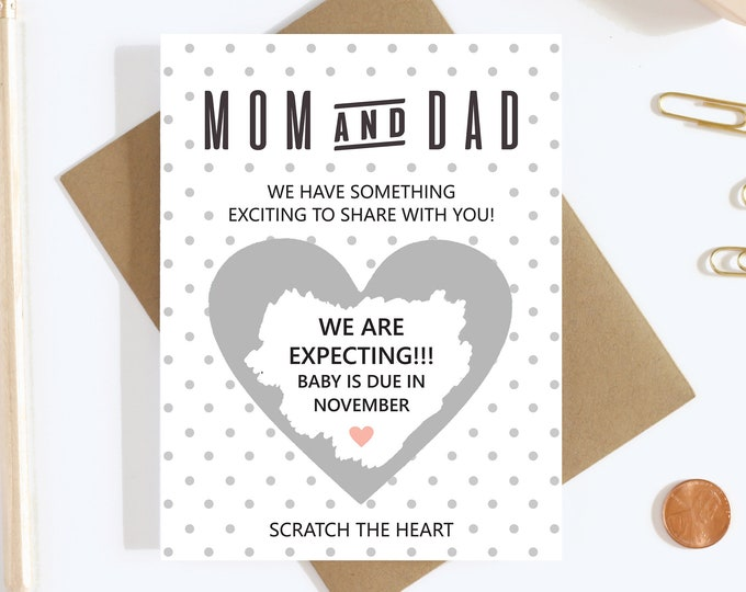 Scratch Off Pregnancy Announcement Card - Pregnancy Reveal - We're Expecting - Greeting Card - Grandparents To Be - Mom and Dad