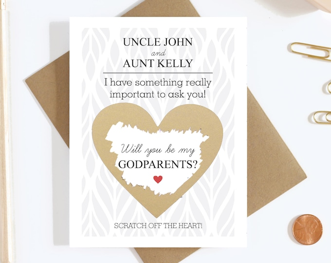 Personalized Scratch Off Will You Be My Godparents Card - Godparents Proposal Card - Godmother Godfather Card - Aunt and Uncle