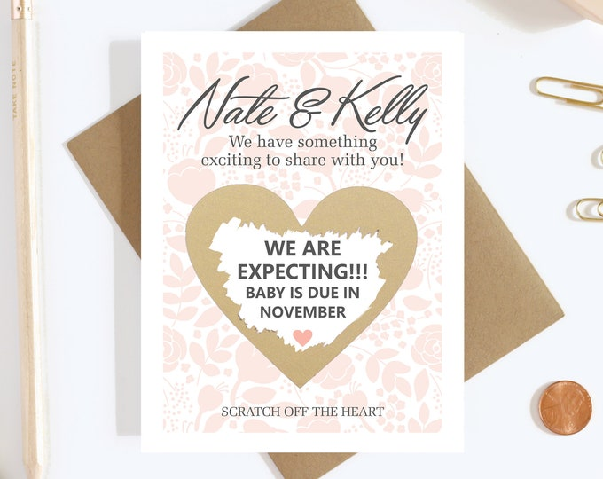 Personalized Scratch Off Pregnancy Reveal Card - Pregnancy Announcement - We're Expecting - Aunt To Be