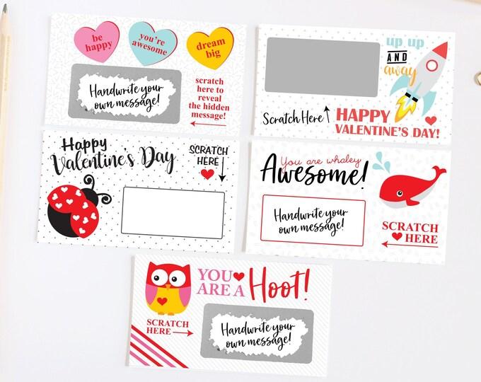 DIY Scratch off Cards Valentine's Day - Secret Message - Lunch Box Note - Teacher Rewards Card - 10 Cards