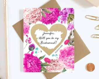 Scratch Off Will you be my Bridesmaid? Card - Maid of Honor, Matron of Honor, Bridesmaid Ask Card