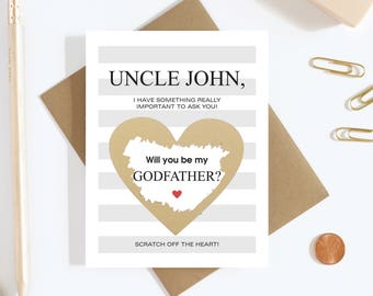 1 Scratch Off Card Pregnancy Reveal - Will You Be My Godfather? - Pregnancy Announcement - New Godparents - Godfather - Uncle
