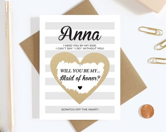 Personalized Scratch Off Will you be my Maid of Honor? Card - Bridesmaid Proposal Card