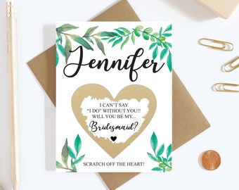 Scratch Off Will you be my Bridesmaid Card - Maid of Honor - Bridesmaid Proposal Card - Personalized