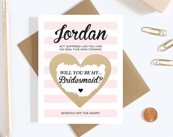 Personalized Scratch Off Will you be my Bridesmaid? Card - Maid of Honor, Matron of Honor, Bridesmaid Ask Card