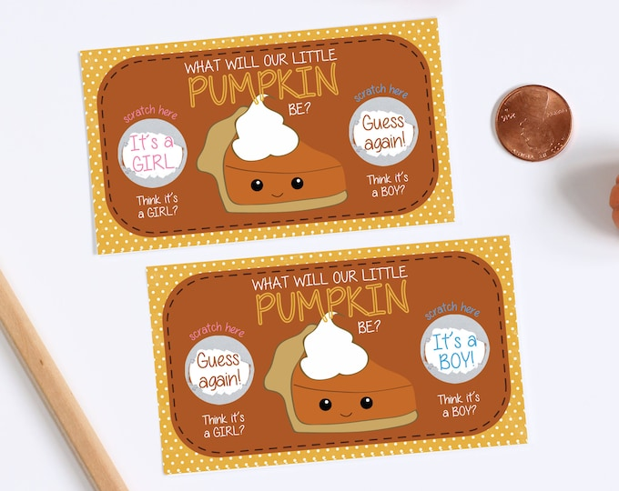 10 Custom Baby Gender Reveal Scratch Off Cards - Little Pumpkin Pie Thanksgiving Double